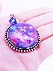 Gümüş Kaplama Galaksi Uzay Yıldız Samanyolu Bayan Kolye mko111