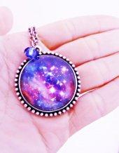 Gümüş Kaplama Galaksi Uzay Yıldız Samanyolu Bayan Kolye mko111-2