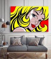 Pop-Art Kadın - Pop Art Kanvas Tablo-3