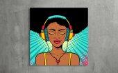 Müzik Dinleyen Kadın - Pop Art Kanvas Tablo-2
