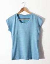 Kadın Basic Mavi Geniş Yaka Tişört