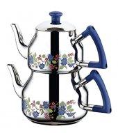 özkent 314 Marmaris Desenli Mini Çaydanlık Mavi