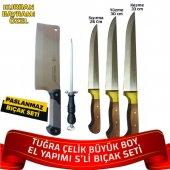 Tuğra Çelik El Yapımı Büyük Boy Set - 5li Kurban Bıçağı Seti