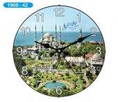 Dekoratif Bombeli Cam Duvar Saati 1968-042 - Sultanahmet Camii