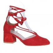Scarletta 1840 Kırmızı Süet 5Cm Topuklu Bayan Sandalet Ayakkabı
