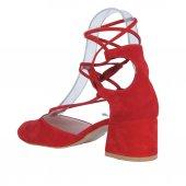Scarletta 1840 Kırmızı Süet 5Cm Topuklu Bayan Sandalet Ayakkabı-2