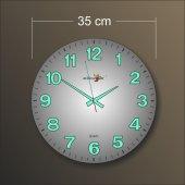 Kalın Rakkam 35 Cm Ebat Çapında Bombe Cam Fosforlu Duvar Saati