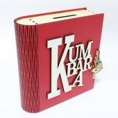Kırmızı Ahşap Kitap Şeklinde Kumbara Görünümlü...