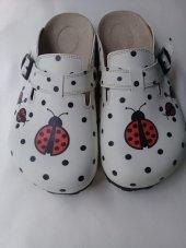 Beyaz Kırmızı Uğur Böceği Özel Tasarım Sabo Terlik Ost 501