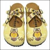 Sarı Baykuş Temalı Özel Tasarım Sabo Terlik Ost 546