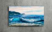 Mavi Dalgalar Yağlı Boya Kanvas Tablo-3