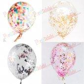 25 Adet Konfetili Balon, Şeffaf Balon + Balon Konfetisi Renk