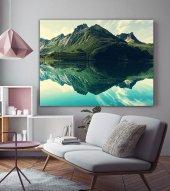 Yeşil Ağaçlar ve Göl Manzara Kanvas Tablo-2