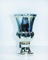 Cam Altı Kabartmalı Dekoratif Gümüş Renk Vazo...