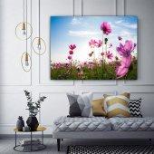 Pembe Kır Çiçekleri Kanvas Tablo-2