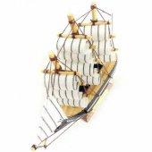 Dekoratif Ahşap Gemi 3 Direkli Şık Tasarım Maket Gemi 14x13cm Eba-2