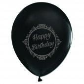 100 ad Kikajoy Silver Elegant Stripe Birthday Baskılı Siyah Balon