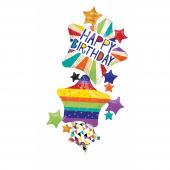 1 adet Kikajoy Yıldız Şekilli Happy Birthday Folyo Balon