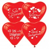 100 adet Seni Seviyorum Baskılı Kırmızı Kalp Balon +Balon Pompası