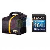Nikon Omuz Çantası + Lexar 16gb 45mb S 300x Sd D750 D810 D800