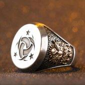 Gümüş Teşkil� T I Mahsusa Yüzüğü Osmanlı Arması Ayyıldız