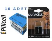 Duracell 9 Volt Alkaline Pil *10 Adet