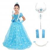Kız Çocuk Kostümü - Frozen Kostüm Abiye - Kısa Kol Tüylü Tarlatan