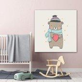 Sevimli Ayı Çocuk Odası Kanvas Tablo-2