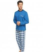 çift Kaplan 8105 Flanel Patlı Ekose Erkek Pijama T...