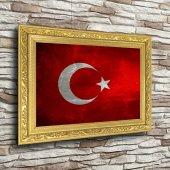 Türk Bayrağı Altın Yaldız Çerçeveli A3 Tablo - Yatay
