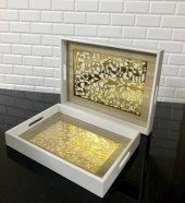 2li Ahşap Beyaz Tutmalı Altın Motifli Cam Yüzey Servis Tepsisi