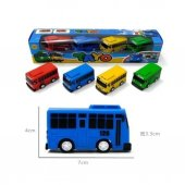 4 Lü Tayo Otobüs Seti Tayo Araba Sarı Kırmızı Mavi Yeşil Süper Set