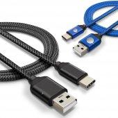 Sony Xperia XA1 Plus Type C Hızlı Şarj Data Kablosu Premier Örgülü Kablo 1 Metre