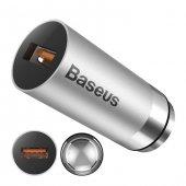Baseus QC 3.0A Gri Hızlı Araç Şarj Cihazı
