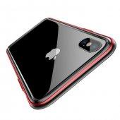 Baseus Bumper Apple iPhone X Kırmızı Alüminyum Kılıf Arka Koruyucu Kapak-2