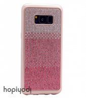 Samsung Galaxy S8 Plus Kılıf Taşlı Silikon Kapak + Ekran Koruyucu Temperli Cam-5