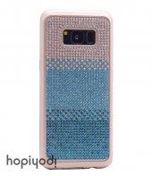 Samsung Galaxy S8 Plus Kılıf Taşlı Silikon Kapak + Ekran Koruyucu Temperli Cam-7