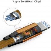 Apple iPhone 5s SE 6s 7 8 Plus X XS Max Hızlı Şarj Kablosu 2A Yassı Kopmayan Lisanslı Data Kablo Gold-5