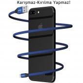 Apple iPhone 5s SE 6s 7 8 Plus X XS Max Hızlı Şarj Kablosu 2A Yassı Kopmayan Lisanslı Data Kablo Lacivert-4