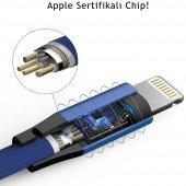Apple iPhone 5s SE 6s 7 8 Plus X XS Max Hızlı Şarj Kablosu 2A Yassı Kopmayan Lisanslı Data Kablo Lacivert-5