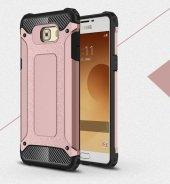 Samsung Galaxy C5 Pro Kılıf Crush Silikon Kap Kapak Gri + Ekran Koruyucu Temperli Cam-2