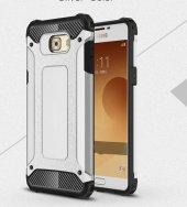 Samsung Galaxy C5 Pro Kılıf Crush Silikon Kap Kapak Gri + Ekran Koruyucu Temperli Cam-3