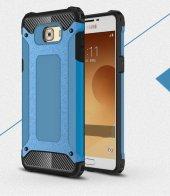 Samsung Galaxy C5 Pro Kılıf Crush Silikon Kap Kapak Gri + Ekran Koruyucu Temperli Cam-4