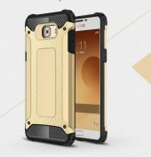 Samsung Galaxy C5 Pro Kılıf Crush Silikon Kap Kapak Gri + Ekran Koruyucu Temperli Cam-5