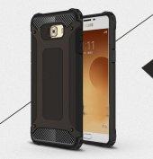 Samsung Galaxy C5 Pro Kılıf Crush Silikon Kap Kapak Gri + Ekran Koruyucu Temperli Cam-7