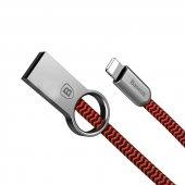 Baseus Ring iPhone 5 6 6s 7 Plus Kaliteli Şarj Kablosu Örgülü Kablo 100cm Kırmızı-2