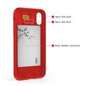 Apple iPhone X Shell Kırmızı Silikon Stand Kılıf Arka Koruyucu Kapak-2