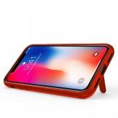 Apple iPhone X Shell Kırmızı Silikon Stand Kılıf Arka Koruyucu Kapak-3