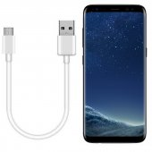 Samsung Galaxy S8 Plus Kısa Şarj Kablosu Type-C  21cm Beyaz
