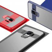 Samsung Galaxy S9 Kılıf Kapak Butto Kap Yan Silikon Arkası Şeffaf